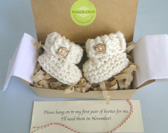 Pregnancy Reveal to Grandparents., Pregnancy Announcement, BOOTIES IN A BOX®  Optional Wood Buttons, Newborn Baby Booties, Baby Bootys