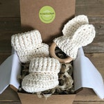 Grandparent Pregnancy Announcement, Baby Announcement, BOOTIES IN A BOX®,  Cotton and Natural Maple Teething Ring, All Natural Set