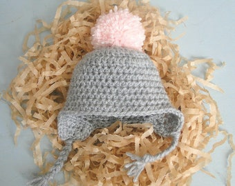 Pompom Baby Hat, 0-3 Month Earflap Hat, Pink Pompom, Hospital Photo Prop, Take Home Hat, Baby Gift, Baby Shower Gift, Ready To Ship