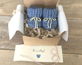 Grandparent Pregnancy Announcement, Baby Boy Reveal,  BOOTIES IN A BOX®, Ribbed Cuffs with Optional Wood Buttons,  Pure Cotton Yarn