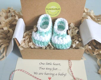 Grandparent Pregnancy Announcement,  Personalized Message,  BOOTIES IN A BOX®, Baby Boy or Girl Booties, Ready To Ship