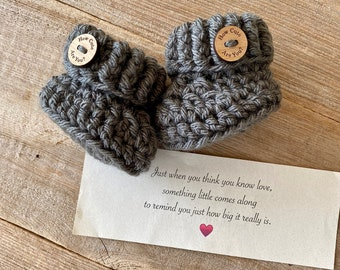 Aunt Pregnancy Announcement,  BOOTIES IN A BOX®, Baby Reveal, Ribbed Cuffs with  Wood Buttons, Baby Booties,  Baby Reveal Box