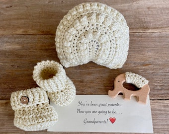 Grandparent Pregnancy Announcement, Baby Announcement, Rainbow Rattle,  Natural Maple Elephant Teething Ring, Booties, All Natural Set
