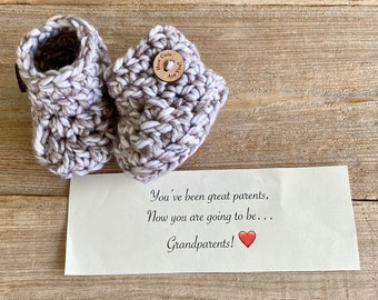 Grandparent Pregnancy Announcement,  BOOTIES IN A BOX®, Baby Reveal, Chunky Booties with  Wood Buttons, Baby Booties,  Baby Reveal Box