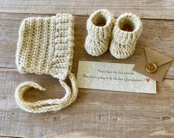 Gift Box Set, Pixie Bonnet and Bootie Set, Pregnancy Announcement to Grandparents, Pregnancy Reveal, Newborn Hat and Booties Set, Baby Gift