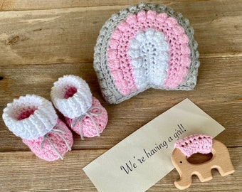 Grandparent Pregnancy Announcement, Gender Reveal, Rainbow Rattle,  Natural Maple Elephant Teething Ring and Booties,  All Natural Set