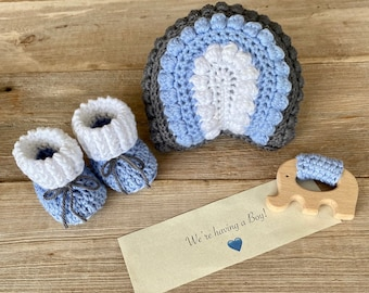 Grandparent Pregnancy Announcement, We're having a Boy, Rainbow Rattle, Elephant Teething Ring and Booties, All Natural Set
