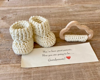 Pregnancy Announcement, Baby Announcement, BOOTIES IN A BOX®,  Cotton and Organic Wood Cloud Teething Ring,  Natural Set