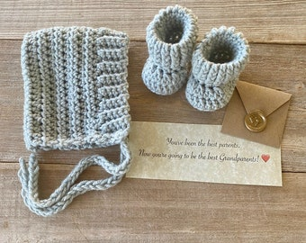 Gift Box Set, Pixie Bonnet and Bootie Set, Pregnancy Announcement to Grandparents, Pregnancy Reveal, Baby Gift, Newborn Hat and Booties Set