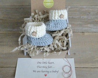 Pregnancy Announcement, Grandparent, Daddy Reveal,  BOOTIES IN A BOX®, Ribbed Cuffs with Wood Buttons,  Baby Reveal Box