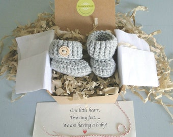 Pregnancy Announcement Grandparents, You're Going To Be A Daddy, Pregnancy Reveal, Baby Announcement, BOOTIES IN A BOX®,Newborn Baby Booties