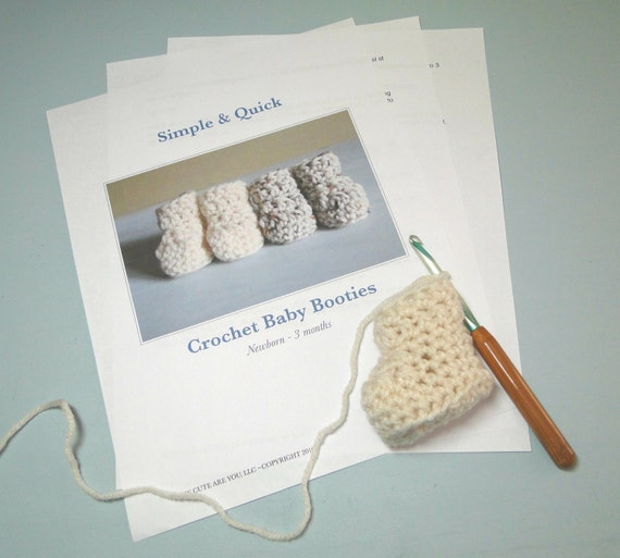 Baby Bootie Crochet Pattern Quick Easy Crochet 0 To 3 Etsy
