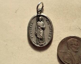 """14K Or Blanc Poli ST JOSEPH PRIEZ POUR NOUS /""""religieux médaille pendentif"""