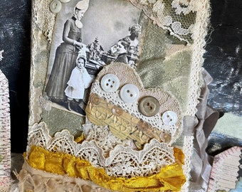 Junk journal with vintage photo, memory book, dream book, guest book, with vintage ribbon and lace, gift got her