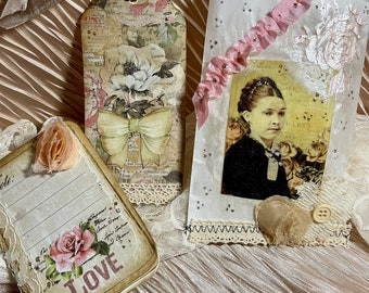 Notebook Stationary set, Vintage Lady, decorative bag, tag, handmade gift for her, Shabby Chic