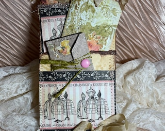 Shabby chic gift, paper gift with tags, stufend pocket