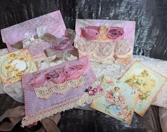 Decorative envelopes handmade and card to write on, Shabby Chic, set of 3 handmade, junk journal insert