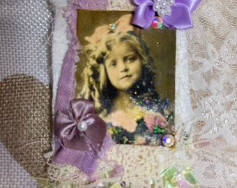 Altered pin, vintage girl image, gift for her, handmade