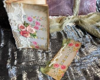 Mini book journal, mini junk journal, book add on, small gift, themed flowers