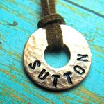 Boy's Necklace - Personalized - Stamped Copper Washer and Leather - Small