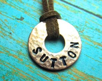 Boy's Necklace - Stamped Copper Washer and Leather - Small