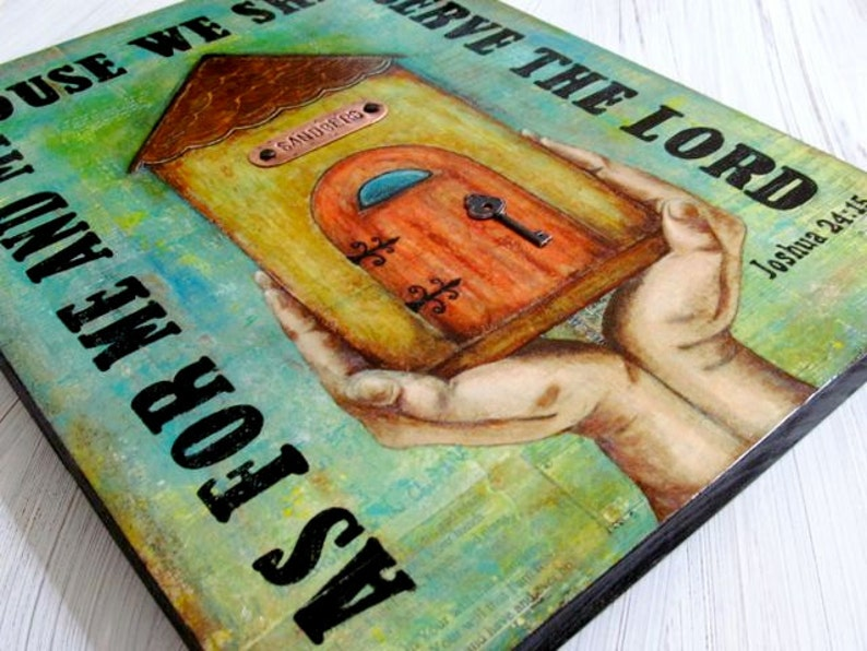 Joshua 24:15  Personalized  Print Mounted on Wood  Mixed image 0