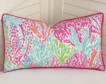 96d6df85f9c2ef Lilly Pulitzer Let's Cha Cha in Tiki/Shorely Designer Pillow Cover with  Choice of Pink Piping or Self Welt - Square, Euro and Lumbar Sizes