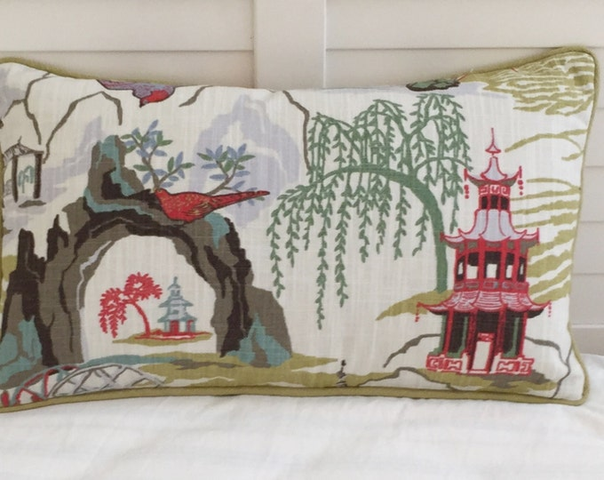 Robert Allen Neo Toile in Coral Designer Lumbar Pillow Cover with Piping - Other Piping Colors Available