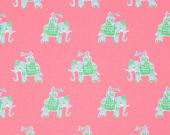 Lilly Pulitzer Bazaar in Tiki Pink Elephants (on both sides) Designer Pillow Cover with or without Piping - Square, Euro and Lumbar Sizes
