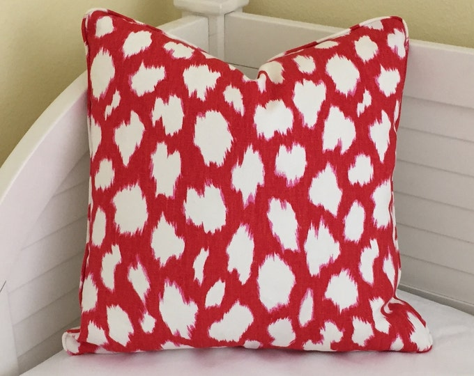 Kravet Leokat Leopard Print in Maraschino Designer Pillow Cover with or without Piping -Square, Lumbar, Euro Sizes, Kravet Kate Spade Fabric