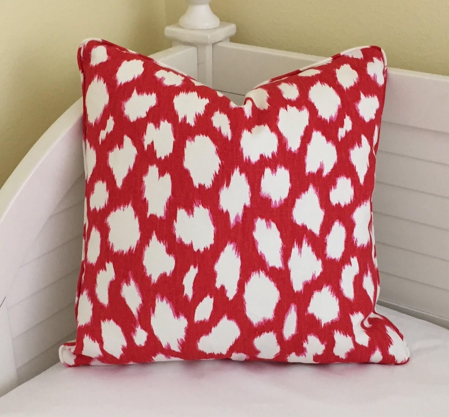 Kravet Leokat Leopard Print in Maraschino Red Designer Pillow