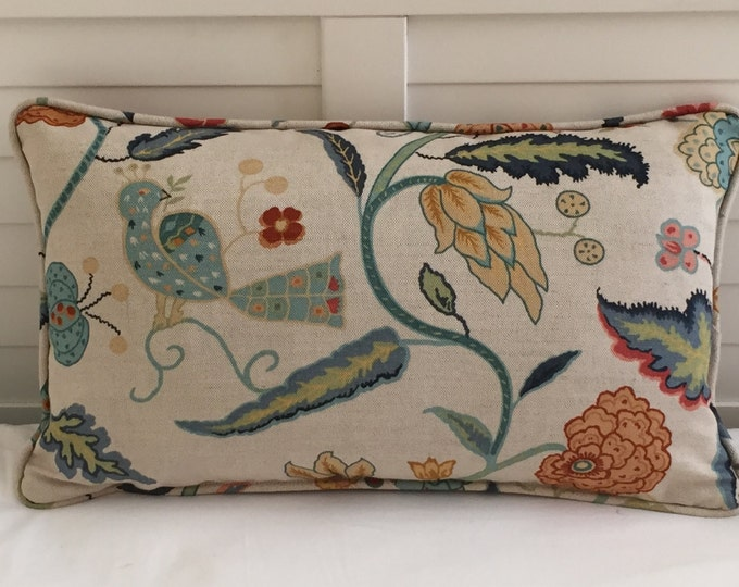 Schumacher Greeff  Apsley Vine in Apricot and Teal Designer Lumbar Pillow Cover With or Without Piping - Lumbar, Square and Euro Sizes