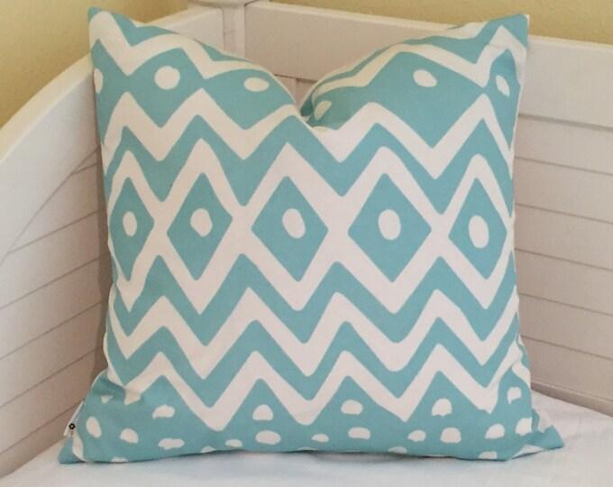 Quadrille China Seas Deauville Suncloth in Aqua and White Indoor Outdoor Designer Pillow Cover - Square, Euro or Lumbar Sizes