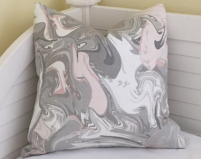 MARBLE SWIRL in BLUSH (Grey and Blush Pink) on Both Sides Designer Pillow Cover - Square, Lumbar and Euro Sizes, Kate Spade Kravet Fabric