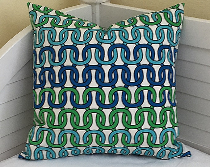 Trina Turk for Schumacher Loop de Loop in Azure on Both Sides Indoor Outdoor Pillow Cover  - Square, Euro and Lumbar Sizes