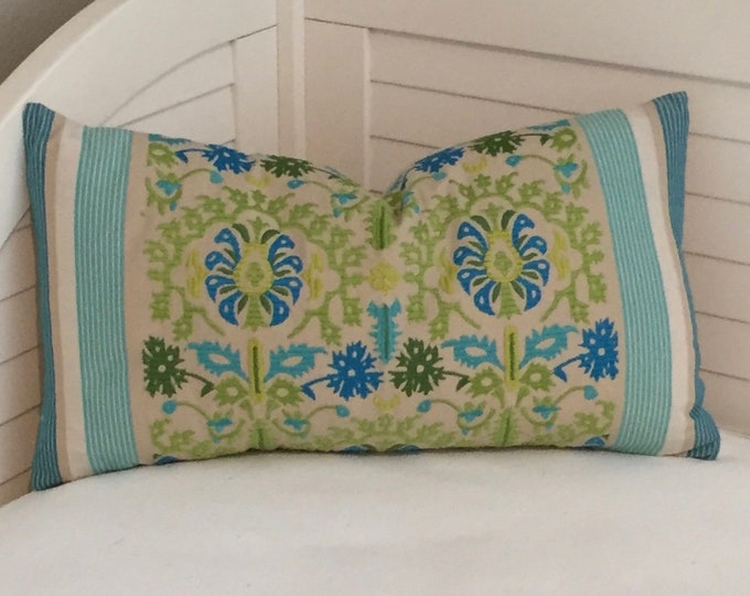 FREE SHIPPING, Leila in Aqua Lumbar 14x24 Designer Pillow Cover, Manuel Canovas fabric, available with or without pillow insert