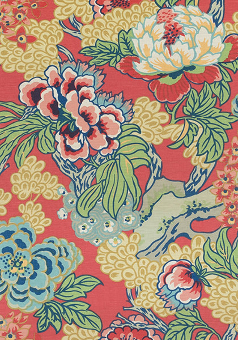 Euro Double Sided Square Thibaut Honshu in Coral and Green Designer Pillow Cover with or without Piping Shams and Lumbar Sizes