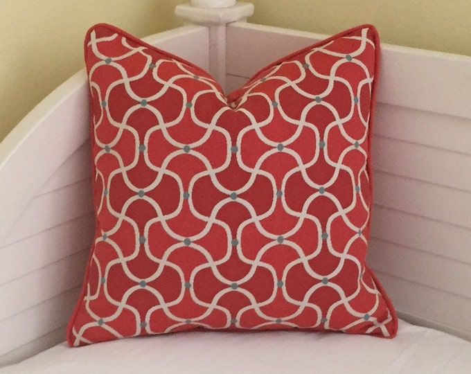 SALE and FREE Shipping, Duralee Bella Dura Coral Quatrefoil Designer Pillow Cover with Piping - 18x18
