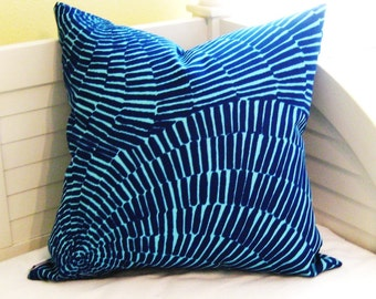 Trina Turk for Schumacher Sonriza in Marine/Pool (on Both Sides)  Outdoor Indoor  Pillow Cover - Square, Euro and Lumbar Sizes