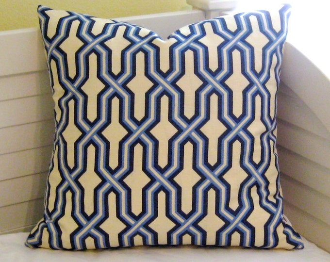 Quadrille China Seas Gorrivan Fretwork in French Blue and Navy Designer Pillow Cover, 18x18