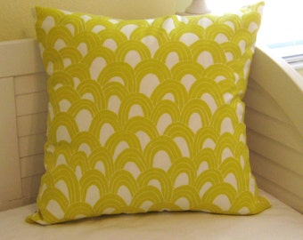 Trina Turk for Schumacher Arches Print in Bamboo (Yellow and White)  on BOTH SIDES Indoor Outdoor Designer Pillow Cover
