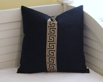 Greek Key Trim on Black Linen Contemporary Designer Pillow Cover