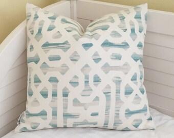 Kravet Frame In Linen Designer Pillow Cover - Square, Euro, Lumbar and Body Pillow Sizes