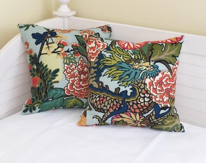 Pair of Schumacher Chiang Mai Dragon in Aquamarine Designer Pillow Covers