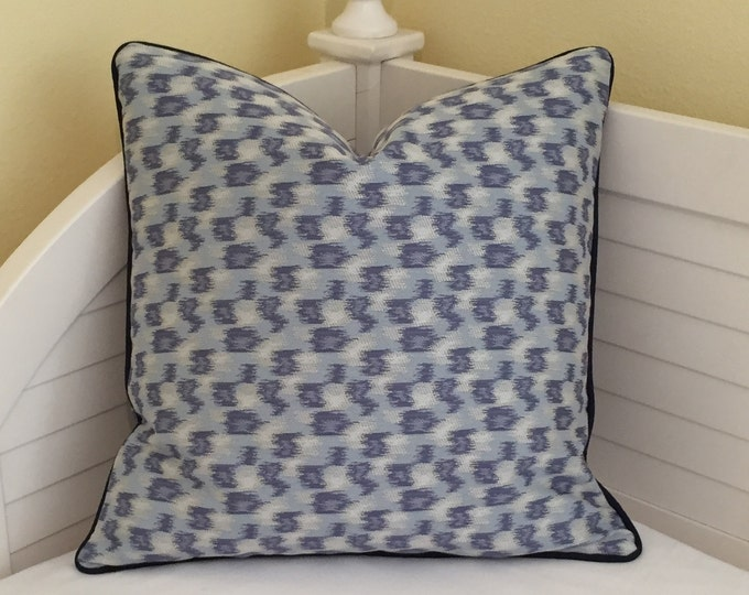 Thom Filicia for Kravet Parrish in Indigo Ikat Designer Pillow Cover with Navy Piping - Square, Euro and Lumbar Sizes