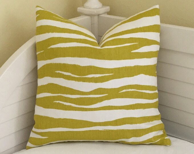 Kravet Mona Zebra in Chartreuse Linen on Both Sides Designer Pillow Cover, Square, Lumbar and Euro Sizes, Kravet Kate Spade Fabric