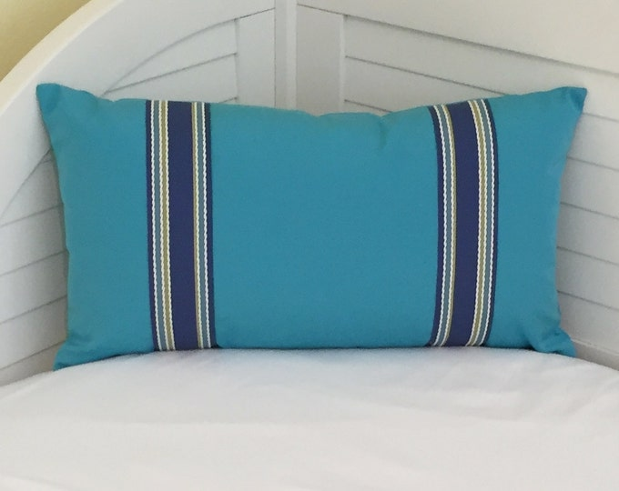 SALE and FREE Shipping, Sunbrella Aruba Turquoise Indoor Outdoor Lumbar Pillow Cover with Trim Tape 14x24