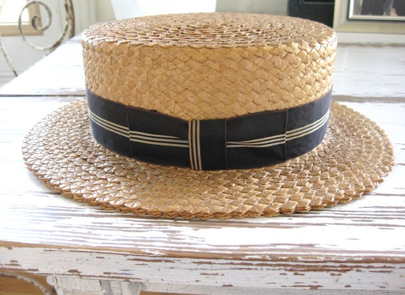 Antique Vintage Straw Boater Hat
