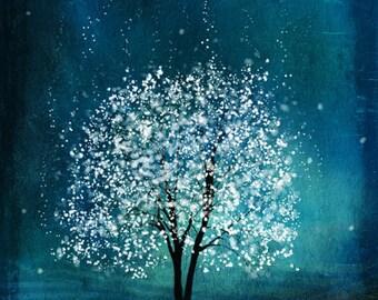 Spirit of Water -- Mool-eh Jung Lyung Su in Korean -- 11x14 tree art print giclee print,art collectibles,wall art,wall decor,wall decor