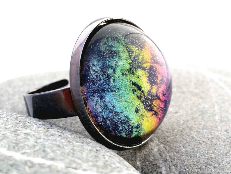 Space Nebula Ring Celestial Space Jewelry Color Shifting image 0